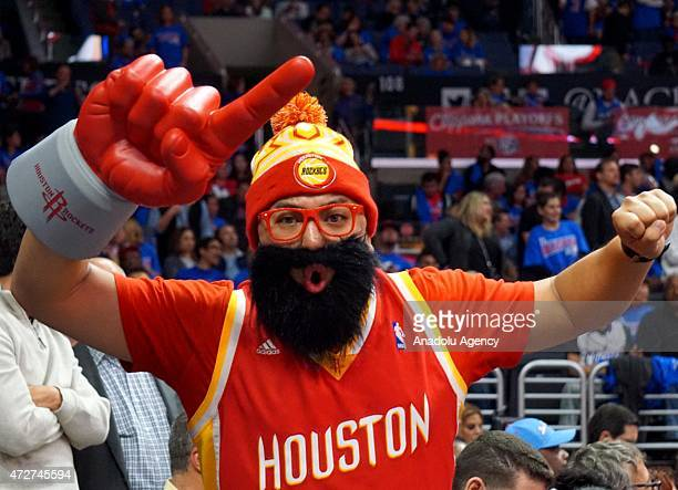 A fan of Houston Rockets is seen during the Game Three of the Western Conference semifinals of the 2015 NBA Playoffs at Staples Center on May 8 2015...