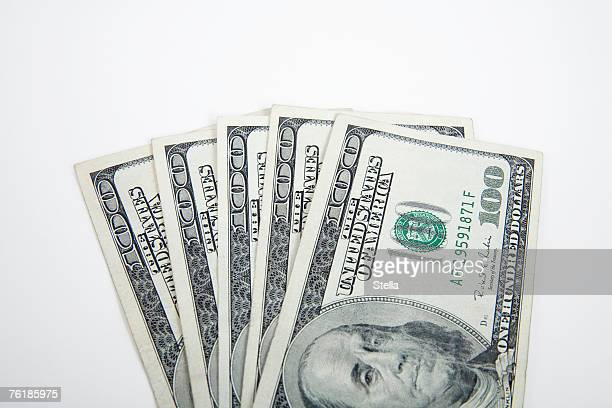 A fan of hundred dollar bills