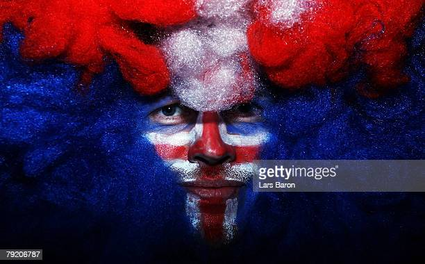 A fan of Iceland is seen prior to the Men's Handball European Championship main round Group II match between Spain and Iceland at Trondheim Spektrum...