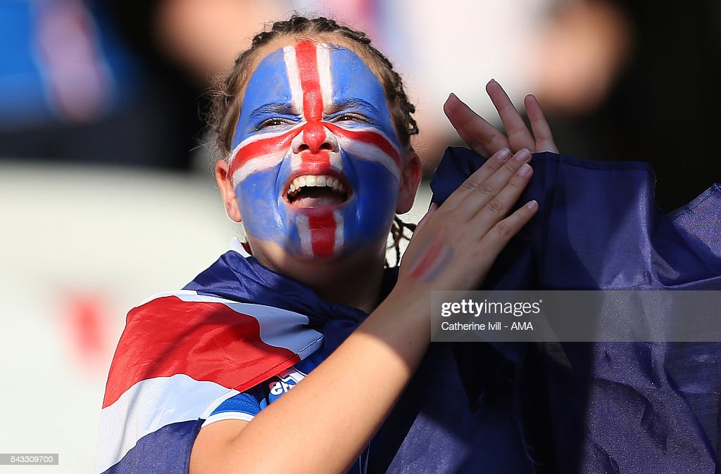 A fan of Iceland looks on prior to the UEFA Euro 2016 Round of 16 match between England and Iceland at Allianz Riviera Stadium on June 27, 2016 in Nice, France.