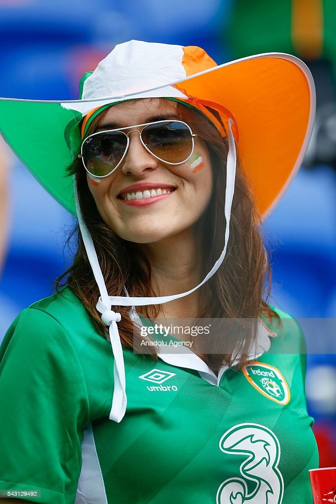 A fan of Ireland national football team is seen ahead of the UEFA Euro 2016 Round of 16 football match between France and Ireland at the Stade de Lyon in Lyon, France on June 26, 2016.