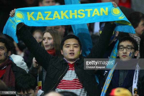 A fan of Kazakhstan celebrates during the EURO 2012 Group A qualifier match between Germany and Kazakhstan at FritzWalterStadium on March 26 2011 in...