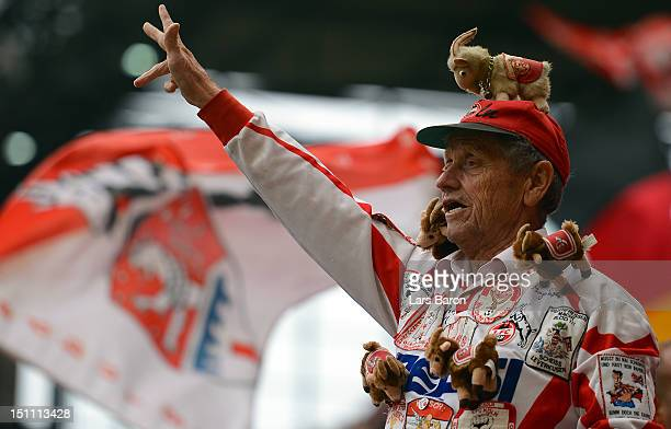 A fan of Koeln is seen during the Second Bundesliga match between 1 FC Koeln and Energie Cottbus at RheinEnergieStadion on August 31 2012 in Cologne...