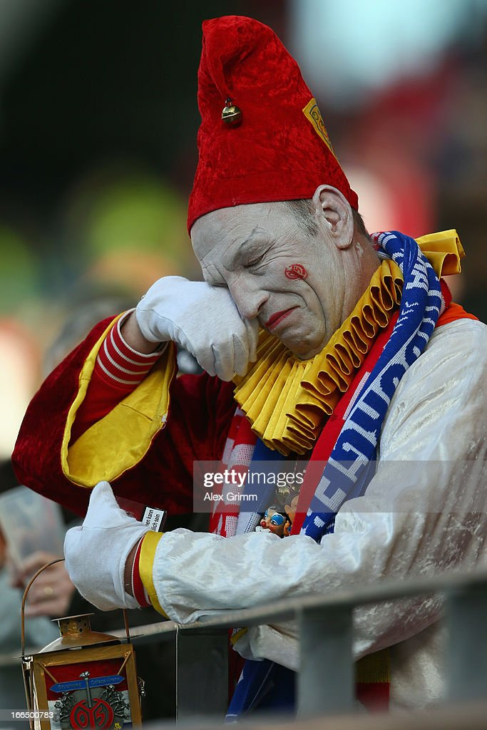 A fan of Mainz reacts after the Bundesliga match between 1. FSV Mainz 05 and Hamburger SV at Coface Arena on April 13, 2013 in Mainz, Germany.