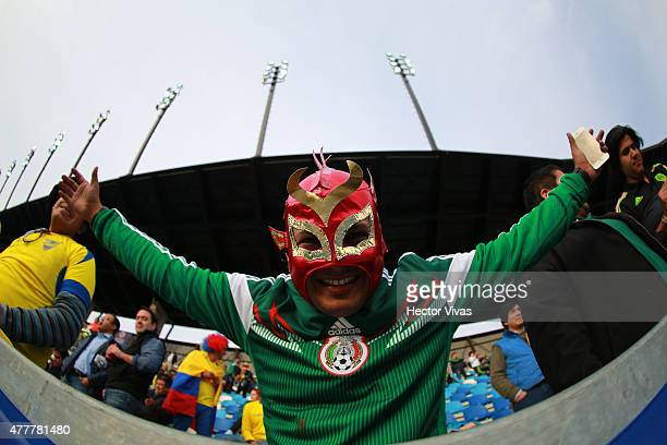 A fan of Mexico cheers for his team during the 2015 Copa America Chile Group A match between Mexico and Ecuador at El Teniente Stadium on June 19...