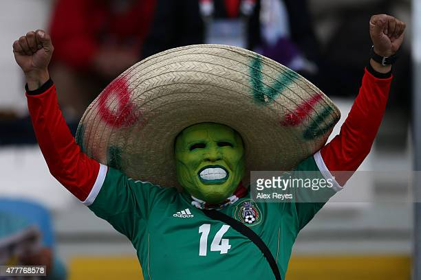 A fan of Mexico enjoys the atmosphere during the 2015 Copa America Chile Group A match between Mexico and Ecuador at El Teniente Stadium on June 19...