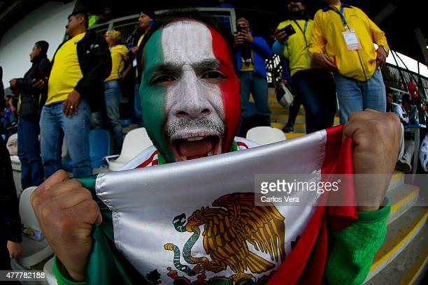 A fan of Mexico enjoys the atmosphere prior the 2015 Copa America Chile Group A match between Mexico and Ecuador at El Teniente Stadium on June 19...