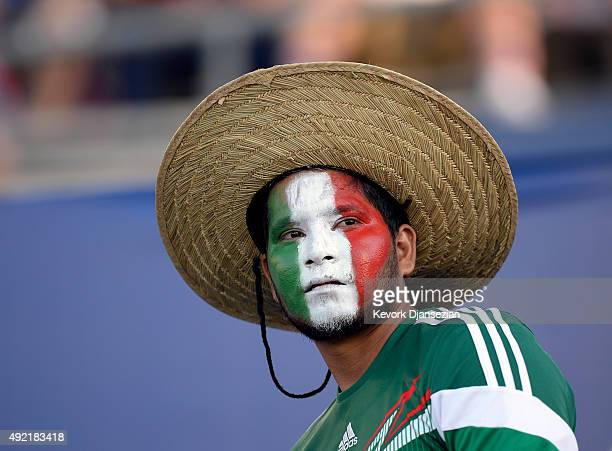 A fan of Mexico stands inside the Rose Bowl before the start of 2017 FIFA Confederations Cup Qualifier between Mexico and United States at Rose Bowl...