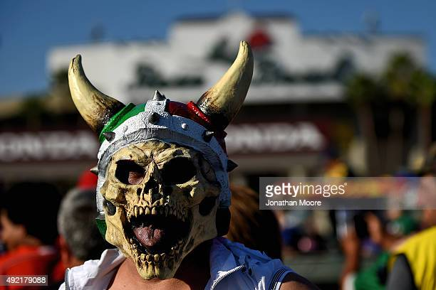 A fan of Mexico waits outside the stadium during the 2017 FIFA Confederations Cup Qualifier at Rose Bowl on October 10 2015 in Pasadena California