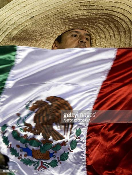 A fan of Mexico's Chivas de Guadalajara waves a national flag before the start of the Libertadores Cup final against Brazil's Internacional on August...