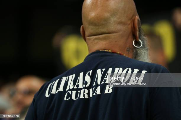 A fan of Napoli wears a tshirt that reads Ultras Napoli during the UEFA Champions League group F match between Manchester City and SSC Napoli at...