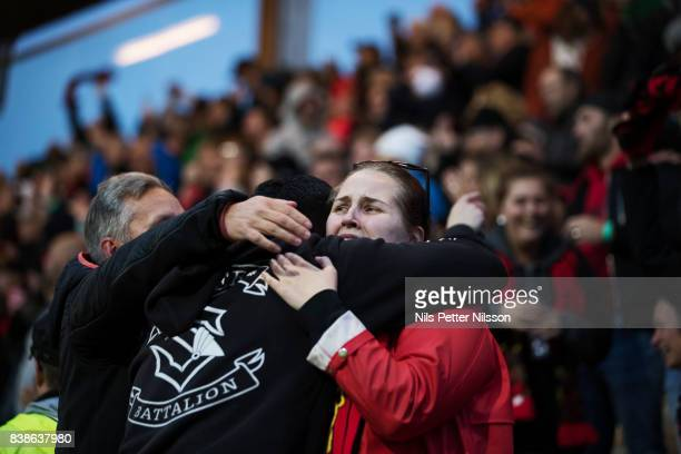 A fan of Oestersunds FK during the UEFA Europa League Qualifying PlayOffs round second leg match between Oestersunds FK and PAOK Saloniki at...