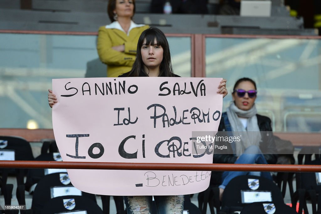 A fan of Palermo shows her support for Palermo head coach Giuseppe Sannino during the Serie A match between UC Sampdoria and US Citta di Palermo at Stadio Luigi Ferraris on April 7, 2013 in Genoa, Italy.