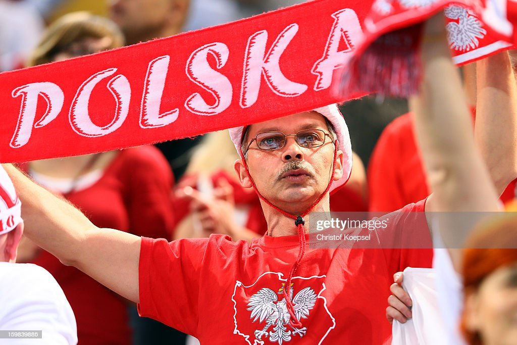 A fan of Poland celebrates prior to the round of sixteen match between Hungary and Poland at Palau Sant Jordi on January 21, 2013 in Barcelona, Spain.