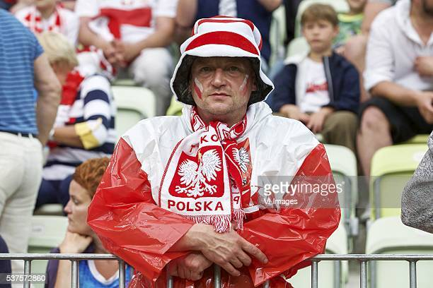 fan of Poland supporter during the International friendly match between Poland and Netherlands on June 1 2016 at the Gdansk Arena in Gdansk Poland