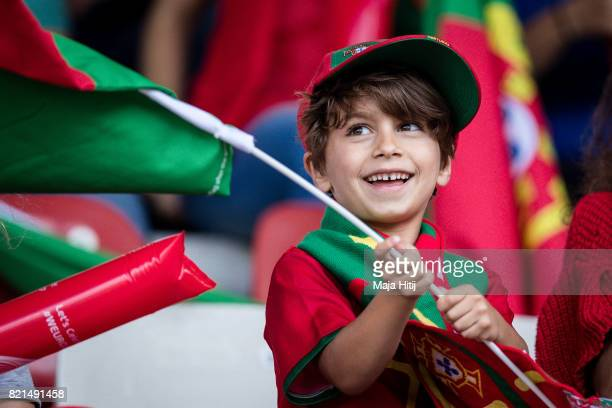Fan of Portugal waves the flag prior the UEFA Women's Euro 2017 Group D match between Scotland v Portugal at Sparta Stadion on July 23 2017 in...