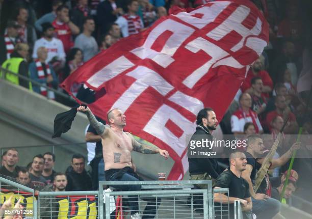 Fan of rvena Zvezda are see during the UEFA Europa League group H match between 1 FC Koeln and Crvena Zvezda at RheinEnergieStadion on September 28...