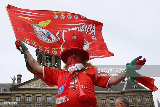 A fan of SL Benfica poses at the at Amsterdam city prior to the UEFA Europa League Final between Chelsea and SL Benfica at Amsterdam Arena on May 15...