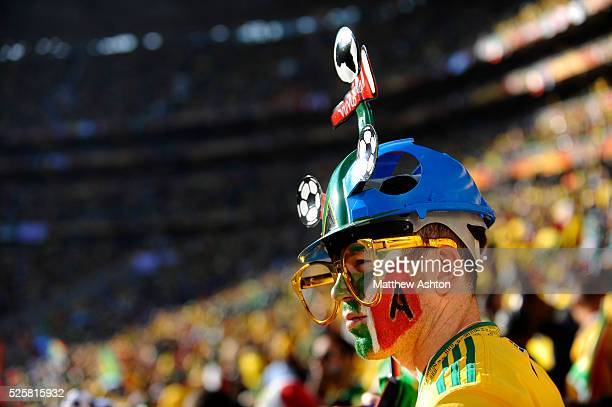 A fan of South Africa wearing a Makarapa hat
