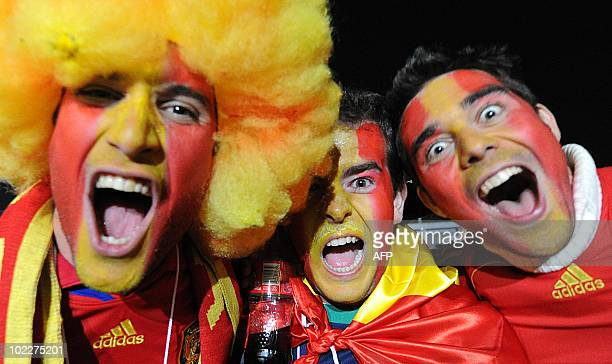 A fan of Spain's football squad arrives on June 21 2010 for the World Cup match Spain vs Honduras Fans arriving for the Spain vs Honduras at Ellis...