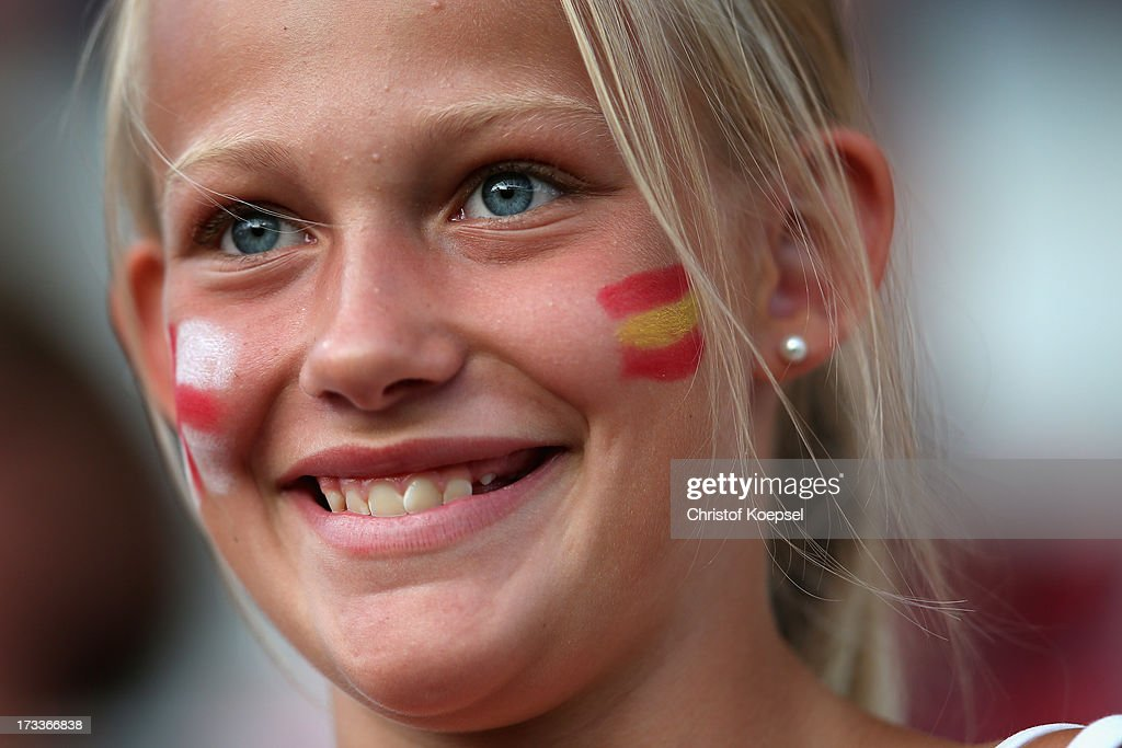 A fan of Sweden smiles during the UEFA Women's EURO 2013 Group C match between England and Spain at Linkoping Arena on July 12, 2013 in Linkoping, Sweden.