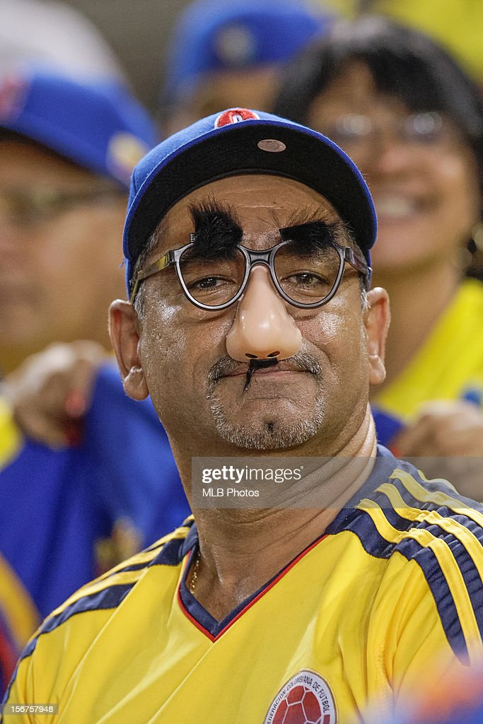 Fan of Team Colombia wearing Groucho glasses in the stands during Game 5 of the Qualifying Round of the World Baseball Classic between Team Panama and Team Colombia at Rod Carew National Stadium on Sunday, November 18, 2012 in Panama City, Panama.