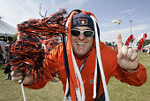 A fan of the Auburn Tigers demonstrate their support before a game Wisconsin in the Capital One Bowl at the Florida Citrus Bowl Stadium Orlando...