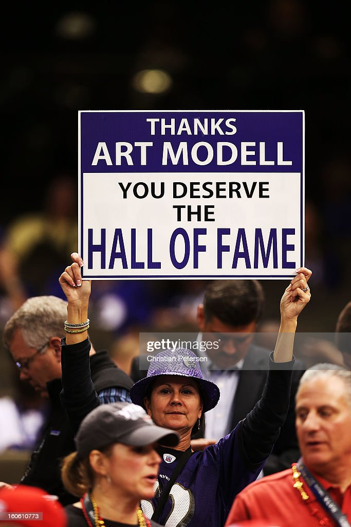 A fan of the Baltimore Ravens holds up a sign in support of the late Art Modell, former owner of the Ravens, during Super Bowl XLVII against the San Francisco 49ers at the Mercedes-Benz Superdome on February 3, 2013 in New Orleans, Louisiana.