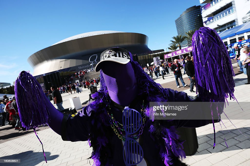 A fan of the Baltimore Ravens shows support for his team outside the stadium prior to Super Bowl XLVII against the San Francisco 49ers at the Mercedes-Benz Superdome on February 3, 2013 in New Orleans, Louisiana.