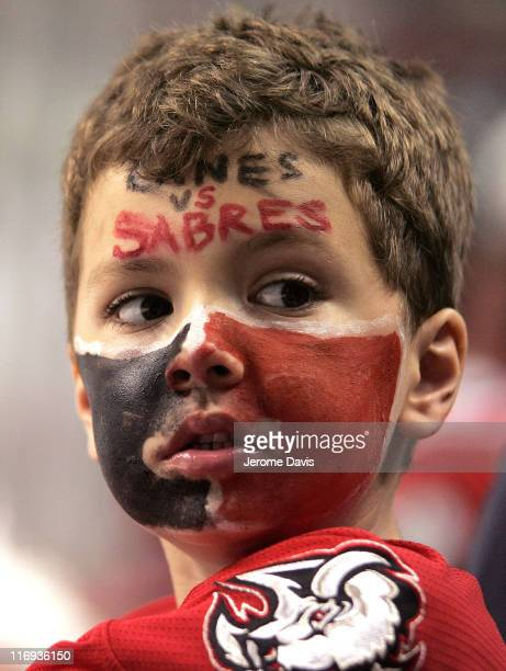 A fan of the Buffalo Sabres watches during game 6 of the Eastern Conference Finals versus the Carolina Hurricanes at the HSBC Arena in Buffalo New...