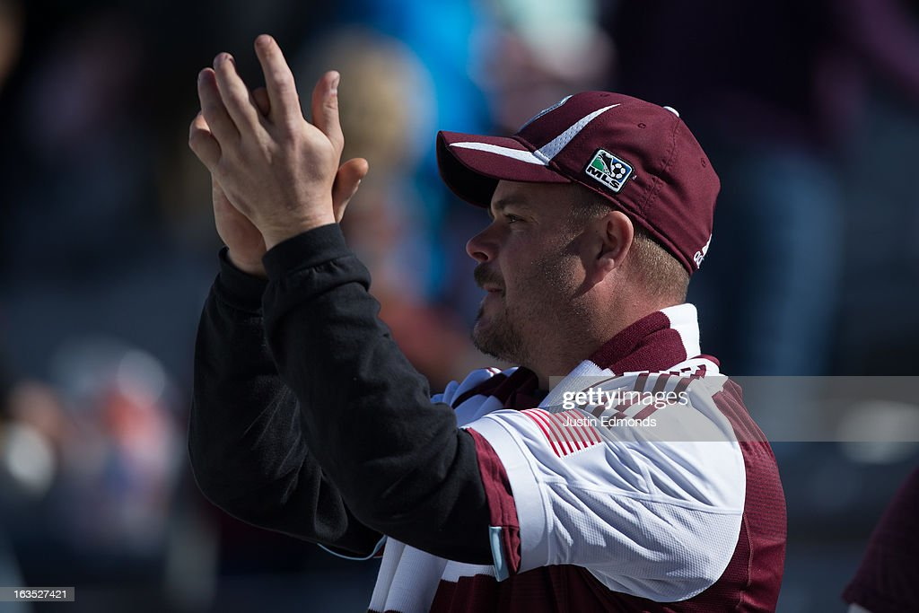 A fan of the Colorado Rapids supports their team against the Philadelphia Union at Dick's Sporting Goods Park on March 10, 2013 in Commerce City, Colorado.