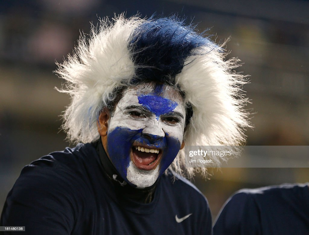 A fan of the Connecticut Huskies displays his support before a game with Michigan Wolverines at Rentschler Field on September 21, 2013 in East Hartford, Connecticut.