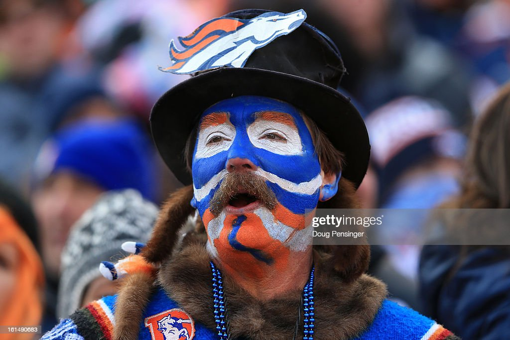 A fan of the Denver Broncos supports his team against the Baltimore Ravens during the AFC Divisional Playoff Game at Sports Authority Field at Mile High on January 12, 2013 in Denver, Colorado.