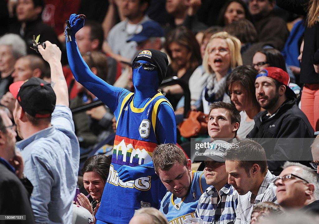 A fan of the Denver Nuggets celebrates during the game against the Milwaukee Bucks on February 5, 2013 at the Pepsi Center in Denver, Colorado.