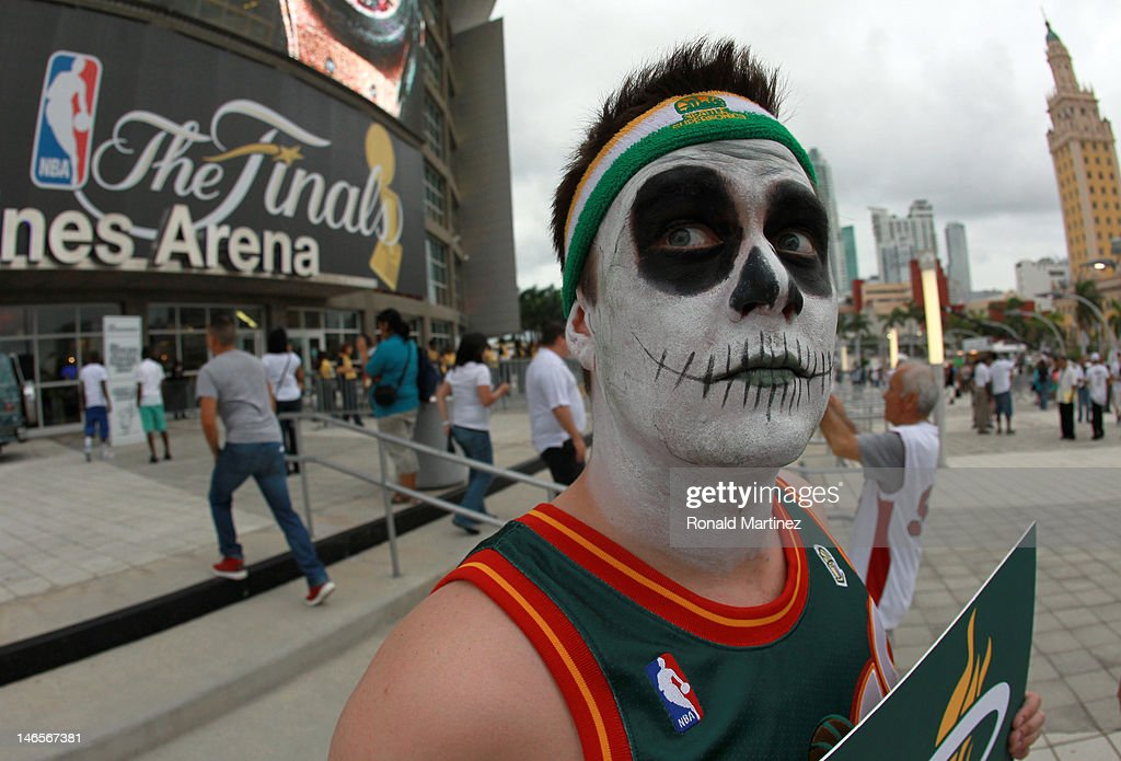 A fan of the former NBA franchise Seattle SuperSonics which moved and became the Oklahoma City Thunder shows support for the Miami Heat to beat the Thunder in Game Four of the 2012 NBA Finals on June 19, 2012 at American Airlines Arena in Miami, Florida.