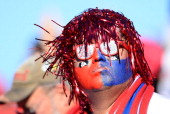 A fan of the Fresno State Bulldogs attends the team's game against the USC Trojans during the Royal Purple Las Vegas Bowl at Sam Boyd Stadium on...