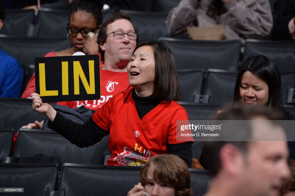 A Fan of the Houston Rockets <a gi-track='captionPersonalityLinkClicked' href=/galleries/search?phrase=Jeremy+Lin&family=editorial&specificpeople=6669516 ng-click='$event.stopPropagation()'>Jeremy Lin</a> #7 holds up a sign against the Los Angeles Clippers at Staples Center on November 4, 2013 in Los Angeles, California.