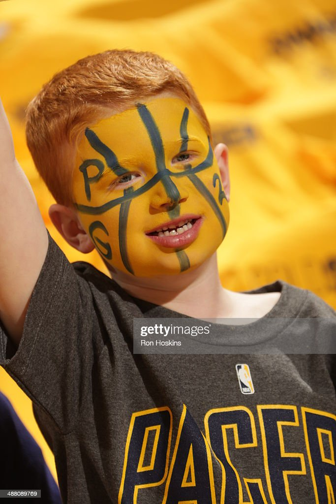 A fan of the Indiana Pacers cheers before a game against the Atlanta Hawks in Game Seven of the Eastern Conference Quarterfinals of the 2014 NBA playoffs at Bankers Life Fieldhouse on May 3, 2014 in Indianapolis, Indiana.