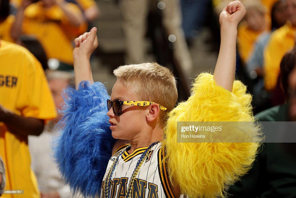 A fan of the Indiana Pacers cheers during a game against the Atlanta Hawks in Game Seven of the Eastern Conference Quarterfinals of the 2014 NBA playoffs at Bankers Life Fieldhouse on May 3, 2014 in Indianapolis, Indiana.