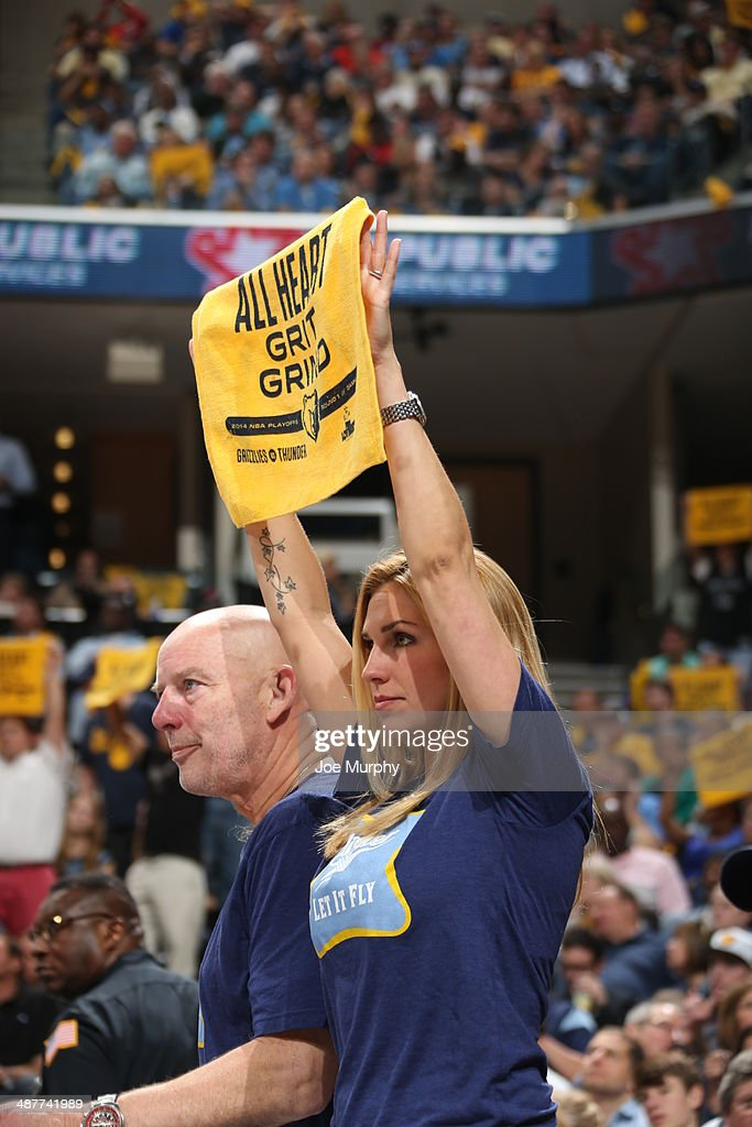 A fan of the Memphis Grizzlies cheers for her team against the Oklahoma City Thunder in Game Six of the Western Conference Quarterfinals during the 2014 NBA Playoffs on MAY 3, 2014 at FedExForum in Memphis, Tennessee.