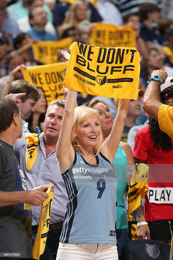 A fan of the Memphis Grizzlies holds up a towel during the game against the Oklahoma City Thunder in Game Four of the Western Conference Quarterfinals during the 2014 NBA Playoffs on April 26, 2014 at FedExForum in Memphis, Tennessee.