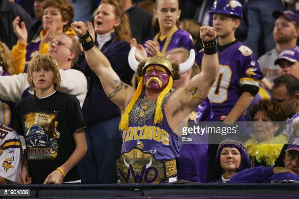 A fan of the Minnesota Vikings looks on against the Jacksonville Jaguars on November 28 2004 at the Hubert H Humphrey Metrodome in Minneapolis...