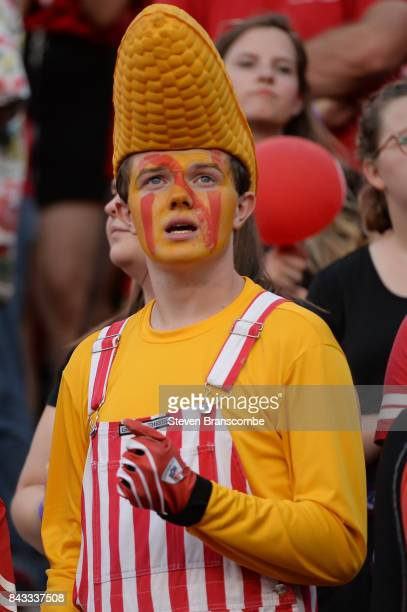 A fan of the Nebraska Cornhuskers looks on during the game against the Arkansas State Red Wolves at Memorial Stadium on September 2 2017 in Lincoln...