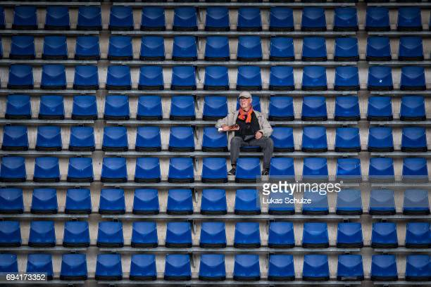 A fan of the Netherlands sits on the tribune prior to the Women's International Friendly match between Netherlands and Japan at Rat Verlegh Stadion...