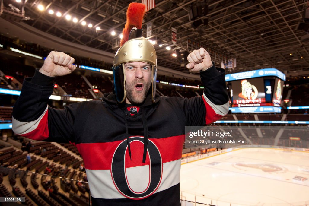 A fan of the Ottawa Senators hams it up for the home opener against the Florida Panthers at Scotiabank Place on January 21, 2013 in Ottawa, Ontario, Canada.