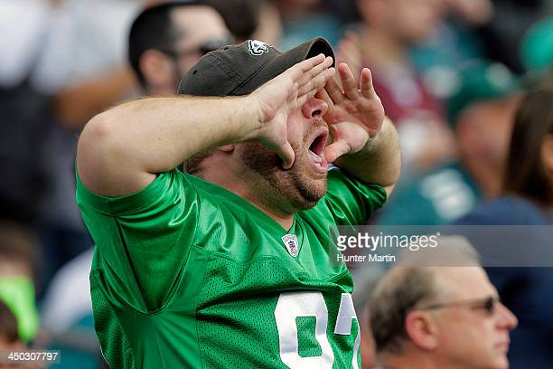 A fan of the Philadelphia Eagles cheers during a game against the Washington Redskins on November 17 2013 at Lincoln Financial Field in Philadelphia...