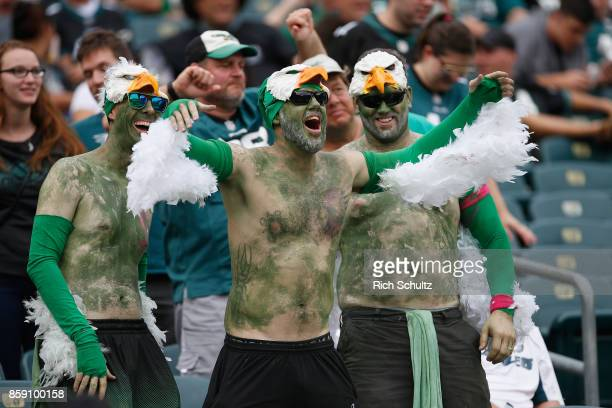 A fan of the Philadelphia Eagles is dressed as an eagle as he cheers against the Arizona Cardinals during the second half at Lincoln Financial Field...