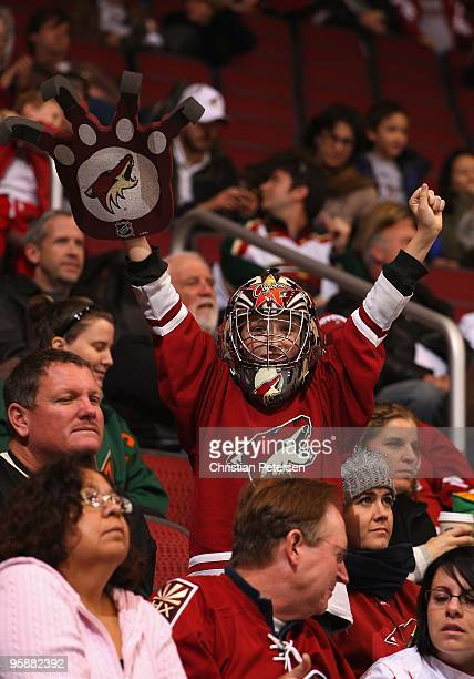 A fan of the Phoenix Coyotes cheers during the NHL game against the Minnesota Wild at Jobingcom Arena on January 16 2010 in Glendale Arizona The...