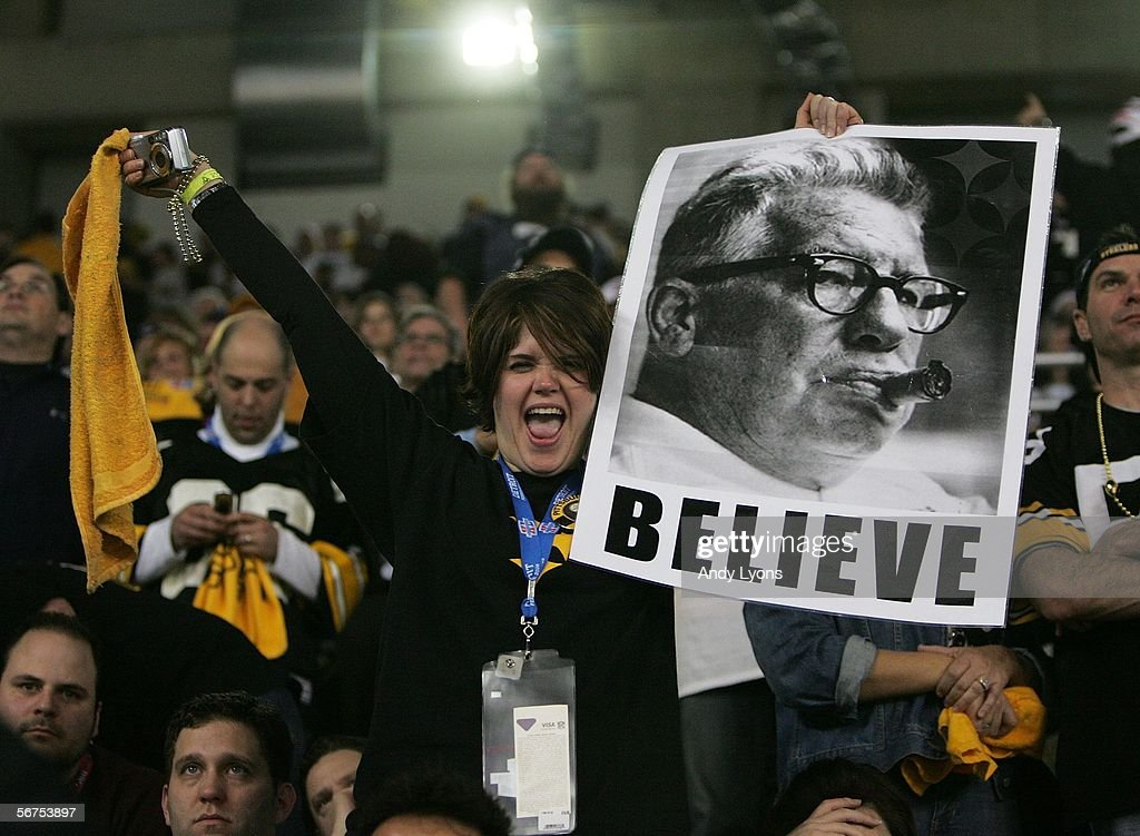 A fan of the Pittsburgh Steelers holds up an image of Art Rooney following the Steelers 21-10 win over the Seattle Seahawks in Super Bowl XL at Ford Field on February 5, 2006 in Detroit, Michigan.
