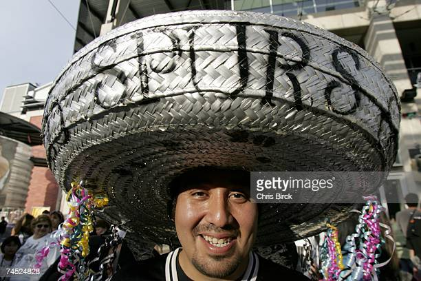 A fan of the San Antonio Spurs shows his support in Game Two of the 2007 NBA Finals at The ATT Center on June 10 2007 in San Antonio Texas NOTE TO...